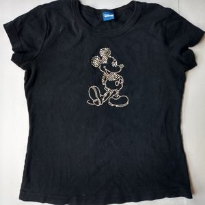 Disney Rhinestone Mickey Mouse Tee Size M Bling